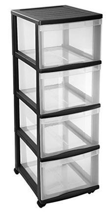 tour de rangement plastique 4 tiroirs