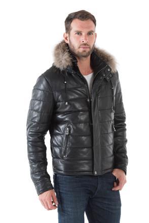 veste en cuir fourrure homme