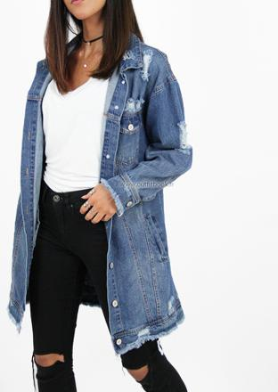 veste en jean longue femme