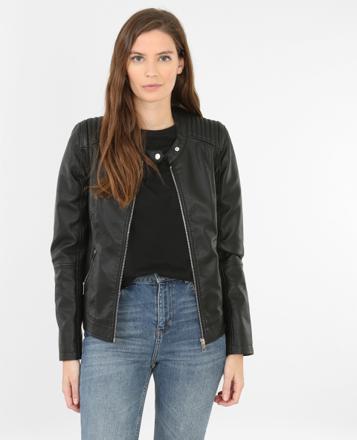 veste noire simili cuir femme