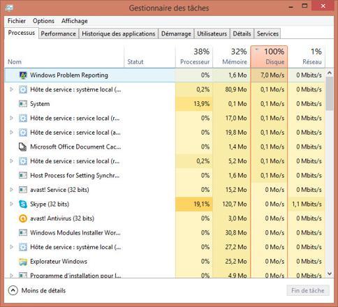 windows 8.1 disque 100